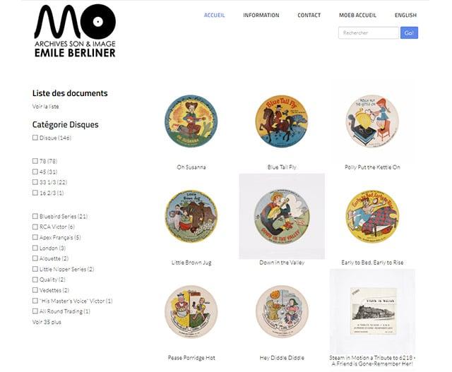 Site Web Son et archives MOEB